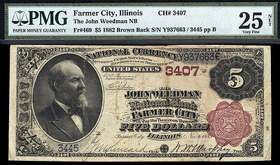 5 1882 John Weedman National Bank Of Farmer City  Illinois Only 4 Brown Known