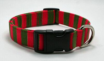 Holiday Stripe Wide Red & Green Dog Collar Adjustable Handmade Custom Designer