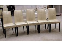 Cool retro white/cream leather and wood high backed chair. 15+ available