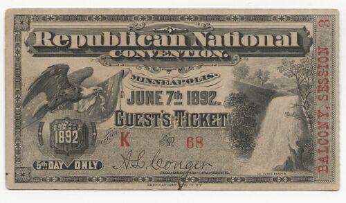 ~1892 Republican National Convention TICKET Minneapolis, MN (Harrison) ~