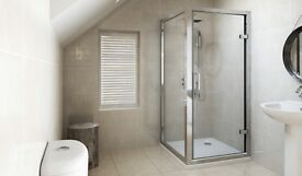 BRAND NEW 800 X 800 FRAMED HINGED SHOWER ENCLOSURE - COST £230