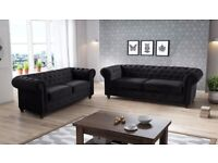 CHESTERFIELD SOFA SET + QUICK DELIEVRY NEW ,Plush Velvet Fabric 3 + 2 Seater Large Padded Seats