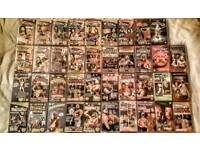 40 old school 90s wwf and wcw vhs tapes with vhs player