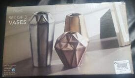 NEXT set of 3 Vases - Bronze,Silver and Gold | Brand new in box