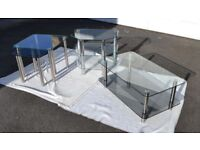 Set of 3 M&S Conservatory/Sun Room/Living Room Glass Tables (Coffee & Nest) plus a Corner TV Stand