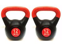 2 x 12kg FXR PLASTIC COATED KETTLEBELLS GYM FITNESS EXERCISE TRAINING KETTLEBELL