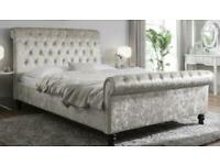 Crushed velvet Pearl double sleigh bed