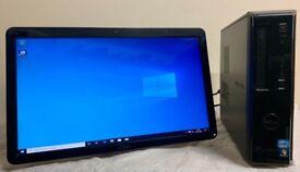 """Dell Vostro Computer Desktop Small Form Tower PC & Dell 24"""" HD Widescreen LCD Webcam Monitor"""