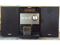 The Sony CMT-FX350i MP3 micro hi-fi system FM, DAB+ digital radio, CD and an iPod dock shelf system.