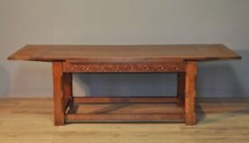 Attractive Large Long Carved Oak Draw Leaf Extending Refectory Dining Table