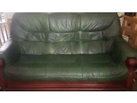 green 3 seater puw style sofa