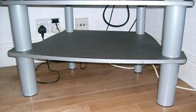 Sturdy, Chunky leg TV stand 2 /shelf. Silver Grey.