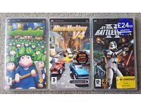 3 FANTASTIC PSP GAMES. STAR WARS BATTLEFRONT 2, LEMMINGS & MICRO MACHINES V4.