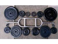 Hammer curl bar and 32.5kg of metal weight plates