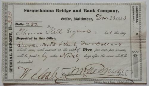 1833 Susquehanna Bridge and Bank Company Deposit Certificate 322 for $232. & 5%