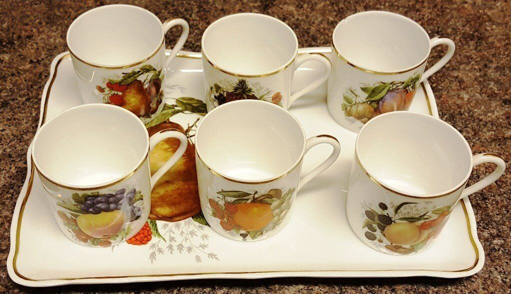 GENUINE LIMOGES PORCELAIN - SMALL TRAY WITH 6 COFFEE MUGS