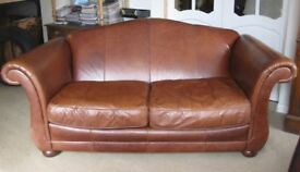 Laura Ashley Large Three Seater Sofa in Light Brown Leather