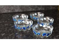 Glass bowl set in blue colour