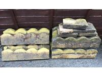 15 x Reclaimed Scalloped concrete Edging 600mm x 150 mm with 5 more smaller sections