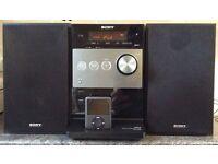 The Sony CMT-FX350i MP3 micro hi-fi system FM, DAB+ digital radio, CD and an iPod dock shelf system.
