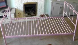Children's Pink Metal 3ft Single Bed Frame