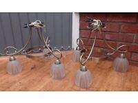 2 x Antique Brass Ceiling Lights, 3 Arms, Glass Shades