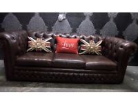 Stunning Vintage 70s Chesterfield 3 Seater Sofa Brown Leather Delivery