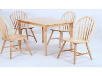 Solid wood dining table and 4 chairs set - brand new