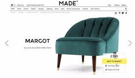 MADE. Margot Accent Chair Peacock Blue Velvet *UNOPENED*