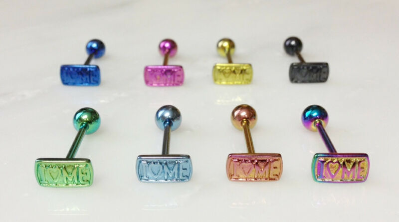 T#105 - 8pc Titanium Anodized I LOVE ME Tongue Rings