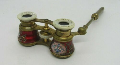 ANTIQUE FRENCH RED ENAMEL GUILLOCHE OPERA GLASSES w/HAND-PAINTED FLOWERS