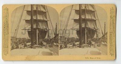 19th Century New York - Stereoview Photo - Man of War Ship in - 19th Century Warship