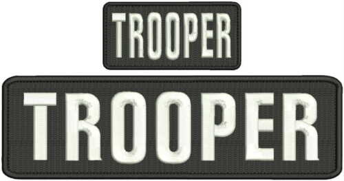 trooper embroidery patches 3x10 and 2x4 hook white