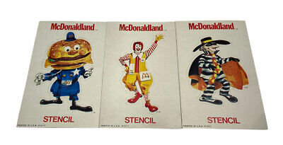 """Vintage NOS 1973, McDonald's, """"Un-Punched"""" Stencils (Set of 3) Scarce"""