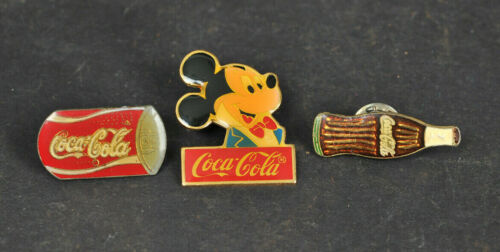 Lot of 3 Vintage Coca-cola Pins Includes Mickey Mouse, Can, & a Bottle Used