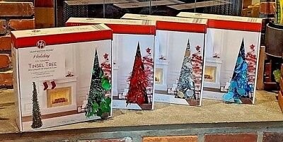 5ft CHRISTMAS PENCIL TINSEL TREE * TURQUOISE SILVER RED GREEN * STAND  Discount ()