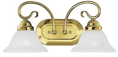 - Coronado 2 Light Livex Polished Brass Bathroom Vanity Lighting Fixture 6102-02