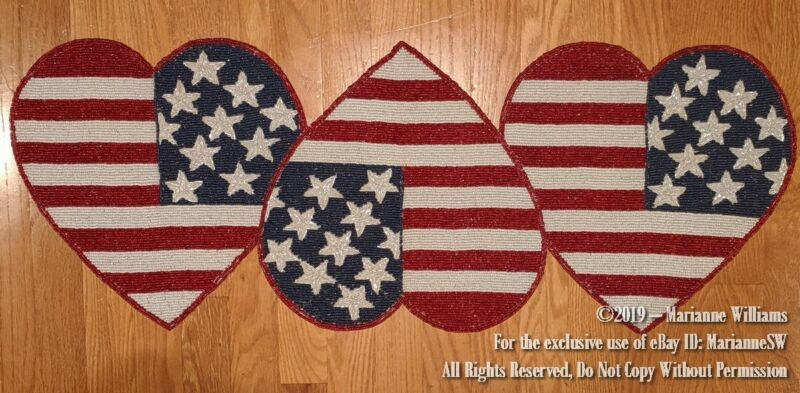 """NEW FOURTH OF JULY 35"""" BEADED TABLE BUFFET RUNNER PATRIOTIC HEARTS W FLAG DESIGN"""