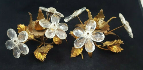 Pair of Vintage Candle Stick Holders  Crystals / Glass ITALY