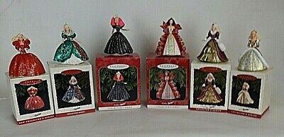 """Lot 6 Hallmark Keepsake Barbie Christmas Ornaments """"Holiday Barbie"""" 1993-96, 98"""