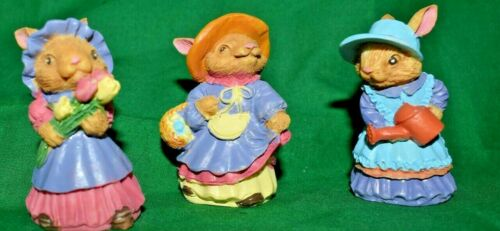 """Estate Easter Village Decor, 2-1/8"""" Tall Resin 3 Girl Bunnies Each Different WOW"""