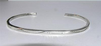 Native American Hand-Stamped Design 7-Inch 2mm Cuff Bracelet Sterling Silver