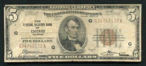 FR. 1850-A 1929 $5 FRBN FEDERAL RESERVE BANK NOTE CHICAGO, IL (E)