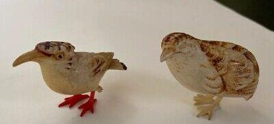 Pair Of Beautiful Antique Little Wooden Birds