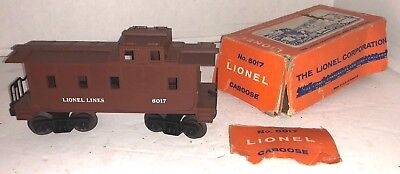 Lionel Trains  6017 Red Brown Caboose O Gauge Vintage W  Box