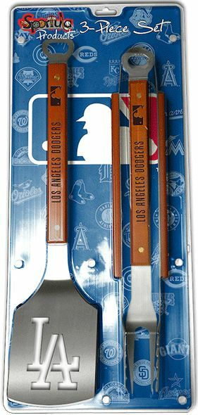 los angeles dodgers 3 piece bbq grill