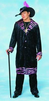 Suga Daddy Pimp Suit Black Pink Zebra Adult Costume