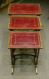 Attractive Nest of Tables with red leather inset