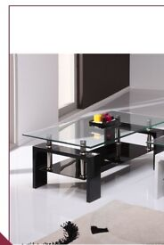 Glass and black gloss tv stand, coffee table and lamp table