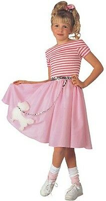 Girls Poodle Skirt Costume 50s Fancy Dress Pink Halloween Purim Child Kids NEW - 1950 S Costume